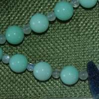 Beautiful 'collar' style necklace with Aqua Jade, Moonstone and Blue Agate Druzy