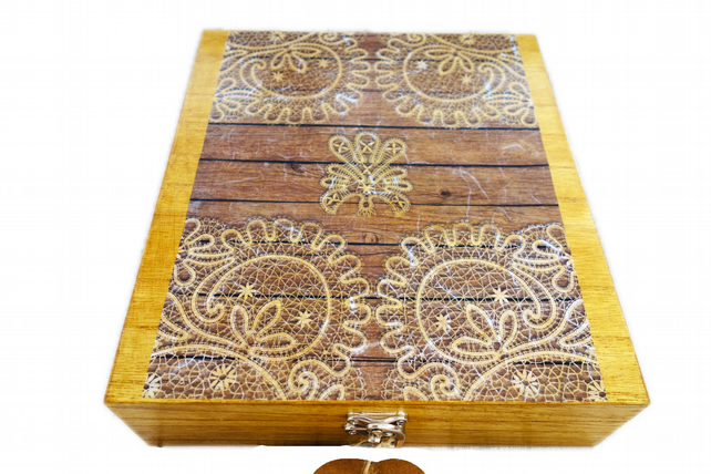 Scroll Lace design Wooden 9 section Jewellery Watch Box