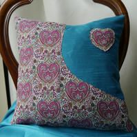 Liberty hearts cushion - Pink and teal décor