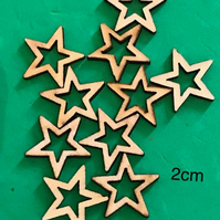WOODEN STARS EMBELLISHMENTS - X 10 PACK - 2CM