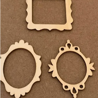 3 PACK OF MINI WOOD FRAMES - 1 SQUARE 2 ROUND