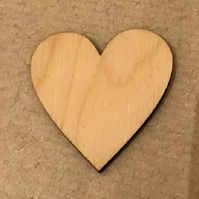 4CM PLYWOOD HEART( 5 PACK) 3MM THICKNESS
