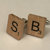 FATHERS DAY - SCRABBLE TILE CUFFLINKS – ANY 2 INITIALS & gift box