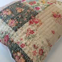 Patchwork cushion with kantha stitching