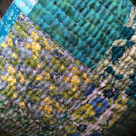 Liberty fabric patchwork cushion with kantha stitching