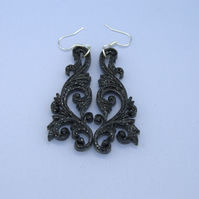 Black sparkly filigree earrings