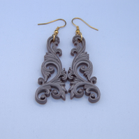 Steely grey filigree earrings