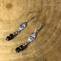 Black Fresh Water Pearl, Sterling Silver Skull Earrings
