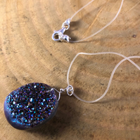 Blue-Green, Purple Quartz Druzy Pendant