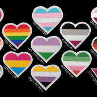 LGBT Pride Flag Heart Iron-on Embroidery Applique Patch