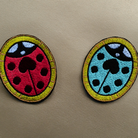 Heart Ladybird Iron-on Embroidery Applique Patch