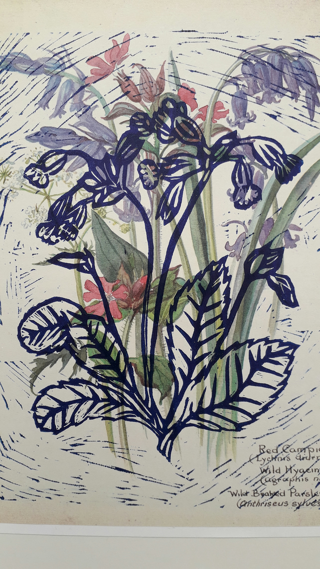 Pretty Vintage Wild Flowers print of Bluebells Handprinted with Blue Cowsli