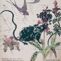 Vintage Green Mouse Linocut and Elderberries atop Meadow Orchid and Swallows