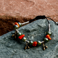Orange Magnesite and Green Perlised Porcelain Beaded Bracelet