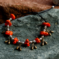 Orange Magnesite and Acorn Charm Beaded Bracelet