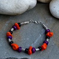 Orange Magnesite, Purple Jasper and Black Onyx Gem Stone Beaded Bracelet