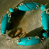Turquoise and Silver Wire Wrapped Semi Precious stone Bracelet
