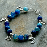 Blue Banded Agate and Silver Star and Moon Charm Beaded Bracelet