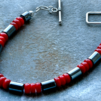 Red Shell and Grey Hematite Stone Beaded Bracelet