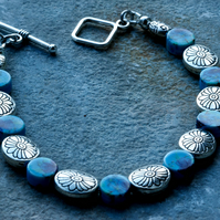 Turquoise Porcelain and Silver Beaded Bracelet
