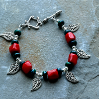 Red Shell, Green Chrysocolla Stone and Silver Filigree Leaf Charm Bracelet