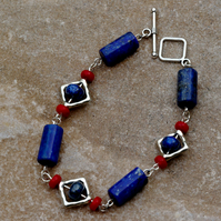 Blue Lapis Lazuli, Red Shell and Silver Beaded Bracelet