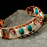Copper, White Howlite and Turquoise Wirework Stone Cuff Bracelet