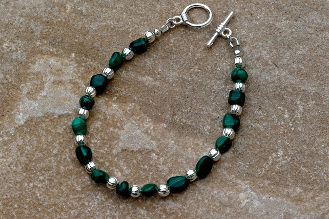 Malachite and Silver Beaded Bracelet