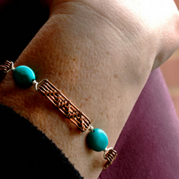 Turquoise Gem Stone and Copper Wire Work Bracelet