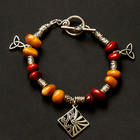 Red and Yellow Ochre Mookaite Gem Stone and Celtic Charm Bracelet