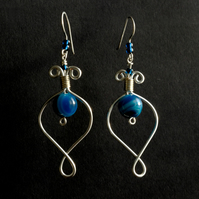 Silver and Blue Banded Agate Wire Work Earrings