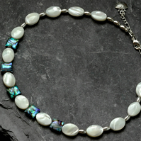Mother of Pearl and Rainbow Abalone Paua Shell Choker