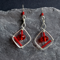 Red Crystal Glass and Silver Wirewrapped Diamond Shaped Earrings