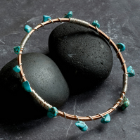 Turquoise Stone, Silver and Copper Wire Wrapped Bangle