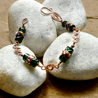 Green Venetian Glass and Copper Wirework Bracelet