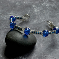 Dark Blue Crystal Gass and Silver Plated Wire Work Cuff Bracelet