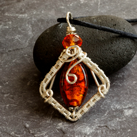 Orange Silver Foil Glass and Silver Plated Wire Wrapped Pendant Necklace