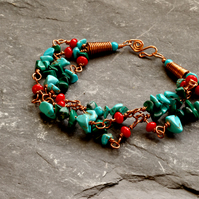 Turquoise, Malachite and Red Shell Gemstone and Copper Wire Work Bracelet