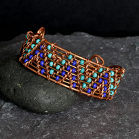 Turquoise, Royal Blue and Copper Wire Woven Cuff Bracelet