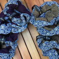 Frankenscrunchie, blue pattern and sparkle, medium scrunchie.