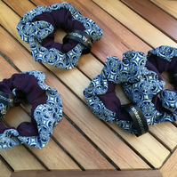 Frankenscrunchie, blue pattern and purple, medium scrunchie.