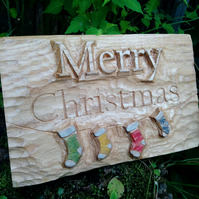 Hand Carved Oak Christmas Sign