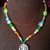 'Wheel of the Year' four seasons beaded necklace.