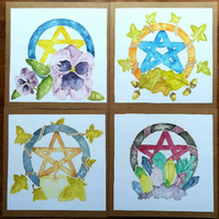 Nature Themed Pentacle cards - blank inside, set of 4
