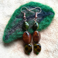 'They remind me of the woodland' earrings - green, gold and brown
