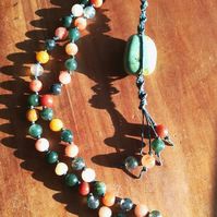 Green Moss Agate & Red Aventurine Hemp necklace.