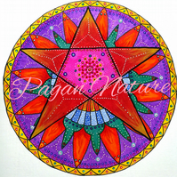 Folk art style pentacle design - photographic print (without watermark).