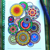 Mandala circles design - bright and colourful.