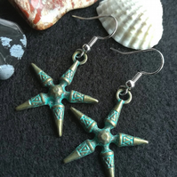 Verdigris Boho Star earrings