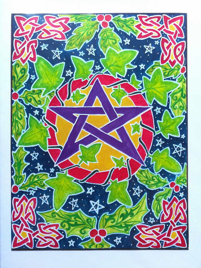 Yule Greetings Card - pentacle and ivy Celtic design.